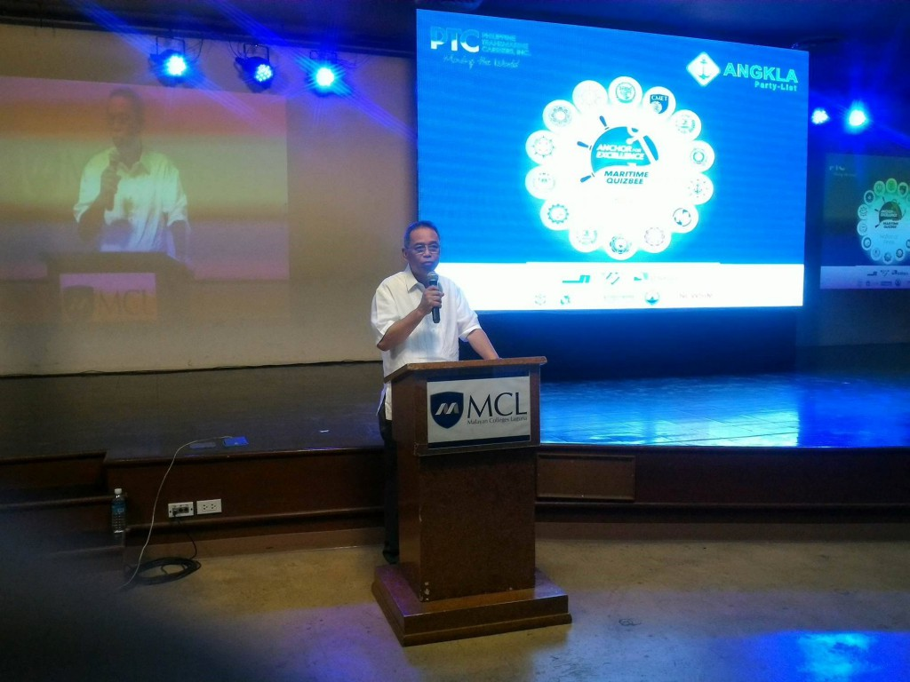 Cong. Jess Manalo addressing the students during the Anchor for Excellence National Finals.